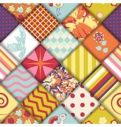 Quilt block seamless pattern vector image