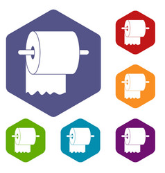 Roll of toilet paper on holder icons set hexagon vector