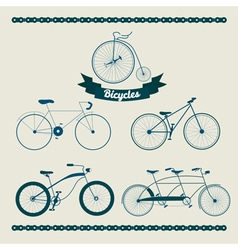 Set of different bicycles in vintage style vector