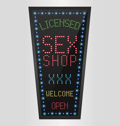 Shining retro light banner licensed sex shop vector