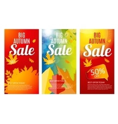 Shiny autumn leaves sale banner template set vector