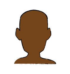 Silhouette head man front view portrait vector