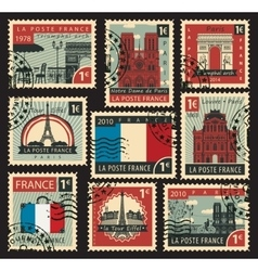 stamps on the theme of France vector image