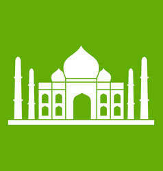 Taj mahal icon green vector