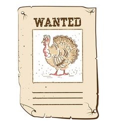 Thanksgiving turkey wanted poster on western paper vector