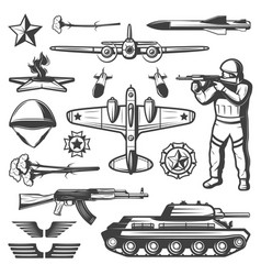 Vintage military elements collection vector