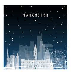 winter night in manchester night city in flat vector image vector image