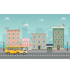 Yellow bus goes around small city with shops and vector