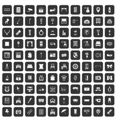100 mirror icons set black vector