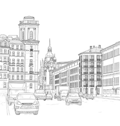 Drawing a city street vector