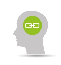 Silhouette head link icon graphic vector