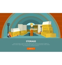 Storage conceptual web banner in flat style vector