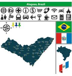 Map of alagoas brazil vector