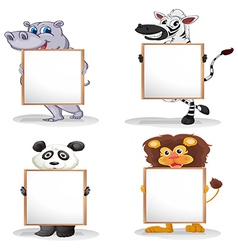 Four different animals with empty whiteboards vector