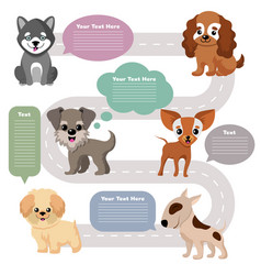 funny cartoon puppy pet dogs with speech bubbles vector image