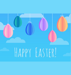 Festive easter card with hanging paper origami vector
