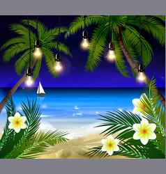 Palm trees at night vector