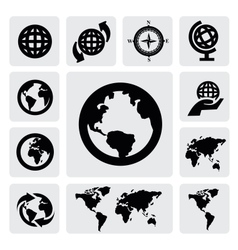 Globe and world map vector