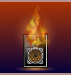 musical black speaker and firre flame vector image