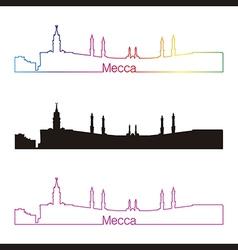 Mecca skyline linear style with rainbow vector image