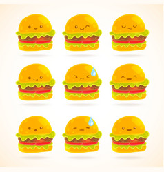 Cute funny cartoon hamburger with emotions set vector