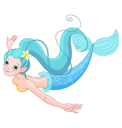 Cute mermaid swimming vector