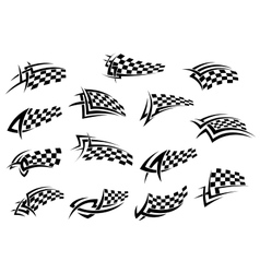 Racing sport checkered flag icons vector