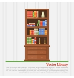 bookcase with books vector image