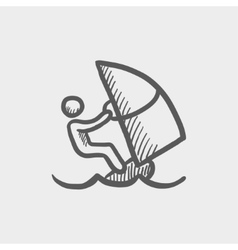 Wind surfing sketch icon vector