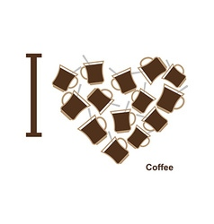 I love coffee symbol heart of cups of hot coffee vector