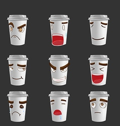 Cartoon coffee mug emotion face vector