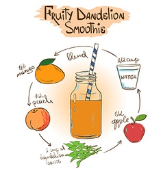 Sketch fruity dandelion smoothie recipe vector