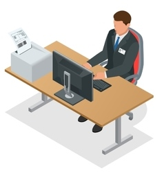Businessman looking at the laptop screen vector
