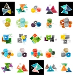 Collection of geometric web boxes vector