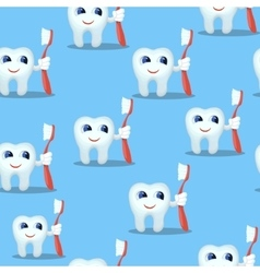 Blue seamless pattern with teeth characters kids vector