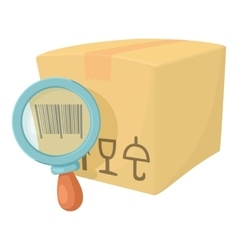 Barcode box icon cartoon style vector