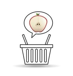 basket market sweet apple icon design vector image vector image