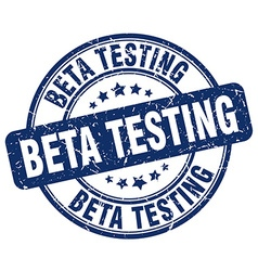 Beta testing blue grunge round vintage rubber vector