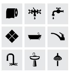 black bathroom icon set vector image