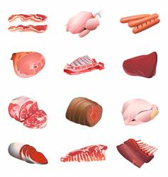 calorie table meat and poultry vector image