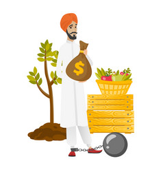 Chained hindu farmer holding a money bag vector