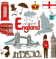 Collection of england icons vector