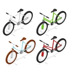 Color Bikes Set Isometric View vector image