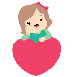 cute little girl leaning on a heart valentine vector image vector image