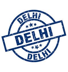 Delhi blue round grunge stamp vector