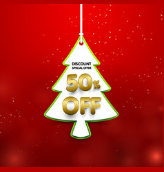 discount 50 percent off christmas tree shape in vector image vector image