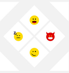 Flat icon emoji set of winking pouting wonder vector