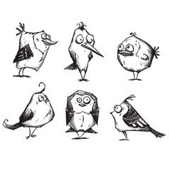 Funny cartoon birds hand drawn vector