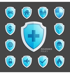Insurance policy blue shield icon design vector