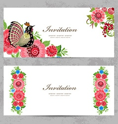 Invitation cards with khokhloma painting for your vector